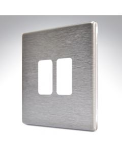 Hartland Screwless Satin Steel 2 Gang Grid Plate