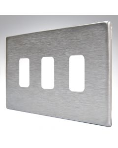 Hartland Screwless Satin Steel 3 Gang Grid Plate