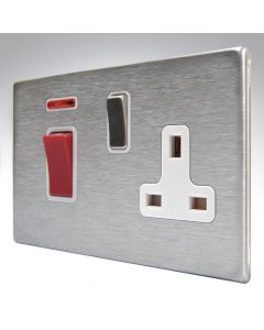 Hartland Screwless Satin Steel 45a Switch & Socket