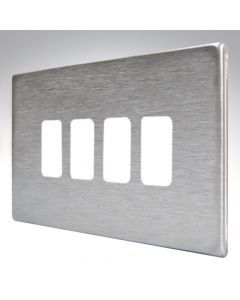 Hartland Screwless Satin Steel 4 Gang Grid Plate