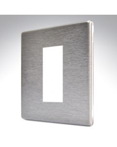 Hartland Screwless Satin Steel 1 Gang Modular Plate