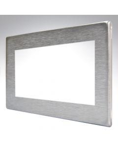 Hartland Screwless Satin Steel 4 Gang Modular Plate