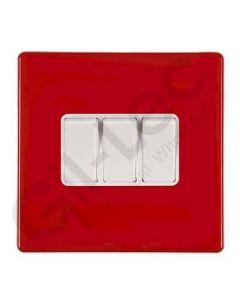 Hartland CFX Red Light Switch 3 Gang 2 Way 10a