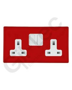 Hartland CFX Red  Switched Socket 2 Gang 13a