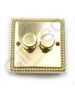 Polished Brass Dimmer Switch 2 Gang 400W