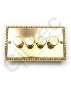 Polished Brass Dimmer Switch 4 Gang 400W
