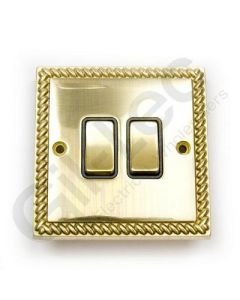 Polished Brass Switch 2 Gang 10A