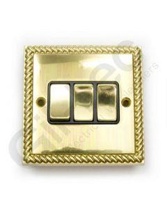 Polished Brass Switch 3 Gang 10A