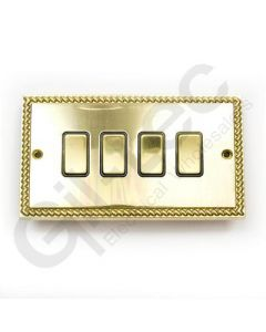 Polished Brass Switch 4 Gang 10A
