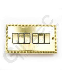 Polished Brass Switch 6 Gang 10A