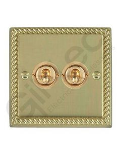 Polished Brass Dolly Switch 2 Gang 10A