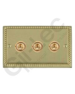 Polished Brass Dolly Switch 3 Gang 10A