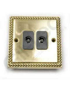 Polished Brass TV Socket 2 Gang