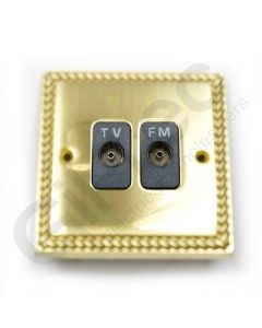 Polished Brass TV/FM Socket Isolated
