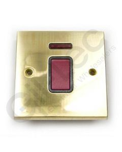 Polished Brass 45A Switch 1 Gang + Neon