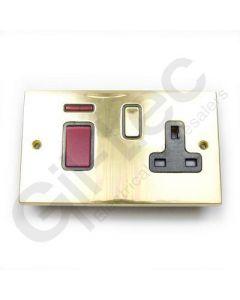 Polished Brass 45A Switch + 13a Socket
