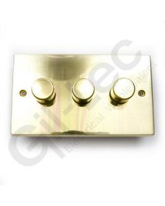 Polished Brass Dimmer Switch 3 Gang 400W