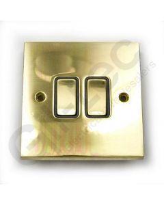 Polished Brass Switch Intermediate 2 Gang