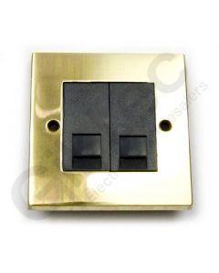 Polished Brass RJ45 Socket 2 Gang