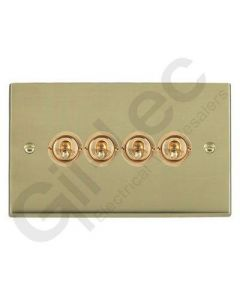 Polished Brass Dolly Switch 4 Gang 10A
