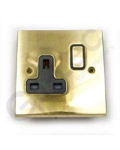 Polished Brass Switched Socket 1 Gang 13A