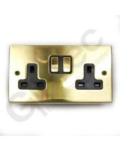 Polished Brass Switched Socket 2 Gang 13A
