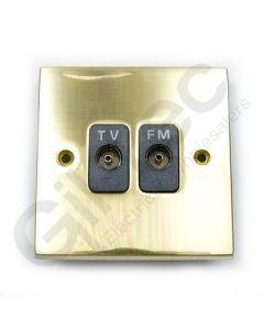 Polished Brass TV/FM Socket