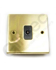 Polished Brass TV Socket Isolated