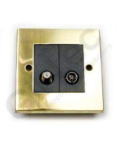 Polished Brass TV/Satellite Socket 1 Gang