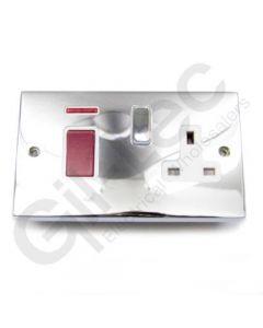 Polished Chrome 45A Switch + 13a Socket