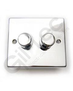Polished Chrome Dimmer Switch 2 Gang 400W