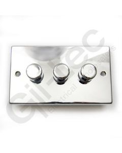 Polished Chrome Dimmer Switch 3 Gang 400W