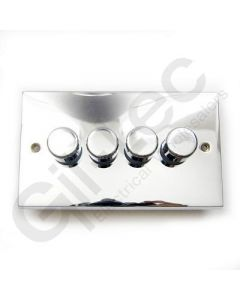 Polished Chrome Dimmer Switch 4 Gang 400W