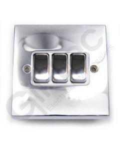 Polished Chrome Light Switch 3 Gang 10A