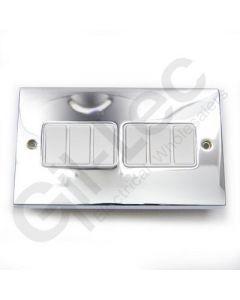 Polished Chrome Light Switch 6 Gang 10A