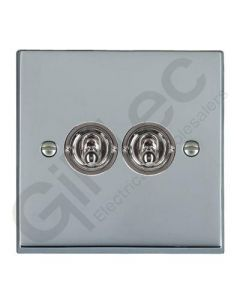 Polished Chrome Dolly Switch 2 Gang 10A