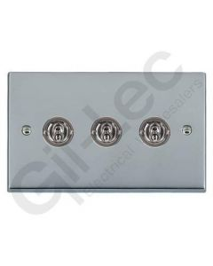 Polished Chrome Dolly Switch 3 Gang 10A