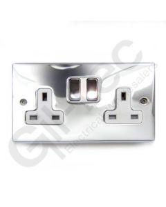 Polished Chrome Switched Socket 2 Gang 13A