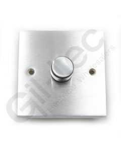 Brushed Chrome Dimmer Switch 1 Gang 400W