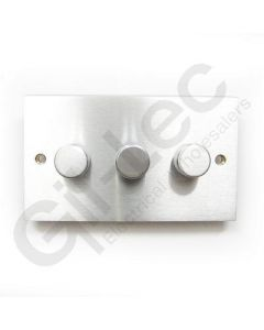 Brushed Chrome Dimmer Switch 3 Gang 400W