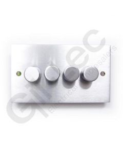 Brushed Chrome Dimmer Switch 4 Gang 400W
