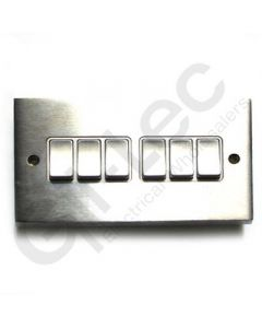Brushed Chrome Light Switch 6 Gang 10A