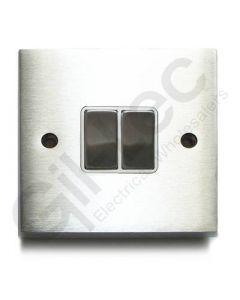 Brushed Chrome Switch Intermediate 2 Gang