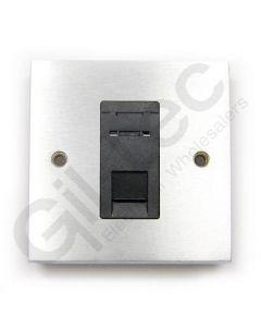 Brushed Chrome RJ45 Socket 1 Gang