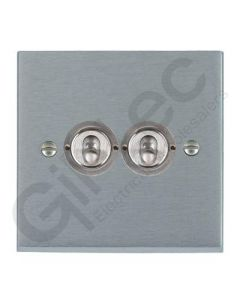 Brushed Chrome Dolly Switch 2 Gang 10A