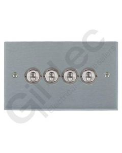 Brushed Chrome Dolly Switch 4 Gang 10A