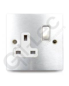 Brushed Chrome Switched Socket 1 Gang 13A