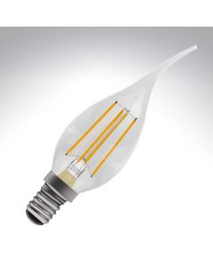 BELL 4W LED Filament Bent Tip Candle Bulb - SES, Clear, 2700K