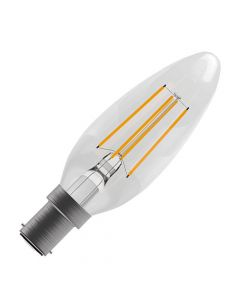 BELL 4W LED Dimmable Filament Candle Bulb - SBC, Clear, 2700K