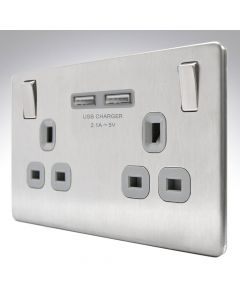 13A Screwless Switched Double USB Socket